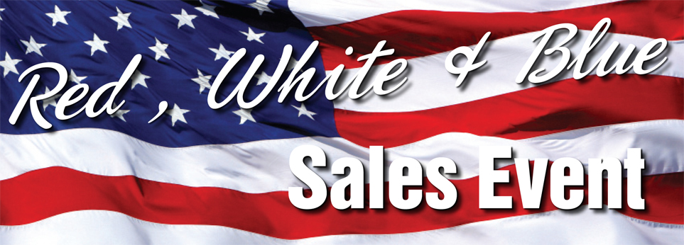 red white and blue sales event banner