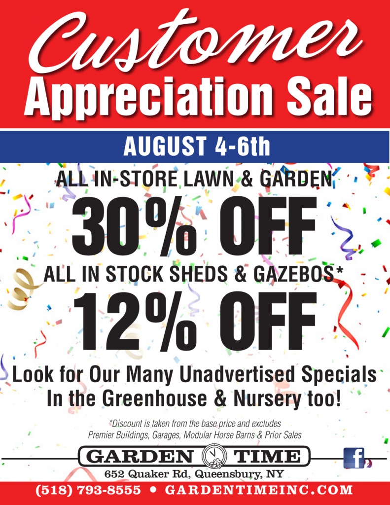 This Weekend Customer Appreciation Sale Garden Time