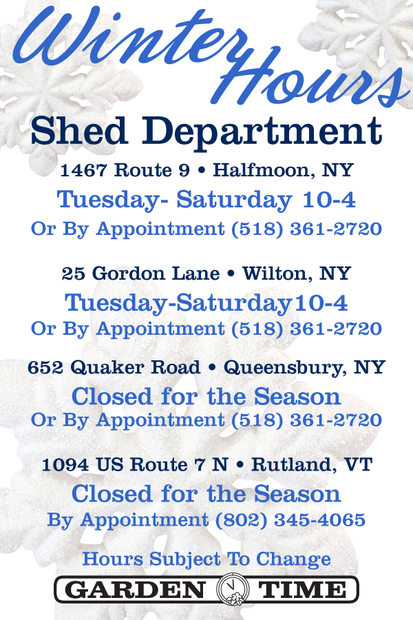 Shed Dept. Winter Hours