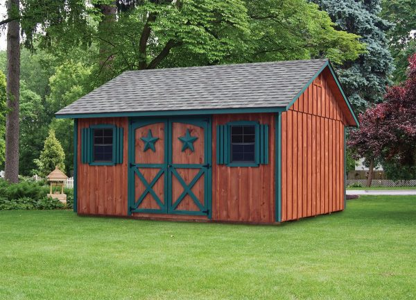Canterbury 12'x16' Shed with Board & Batten Cedar stained Siding