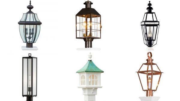 Lanterns - Top left to bottom right: Lancaster, American Heritage, Beacon Lamp, Capture Lamp, Cupola Lantern - Patina, Olde Colony Copper